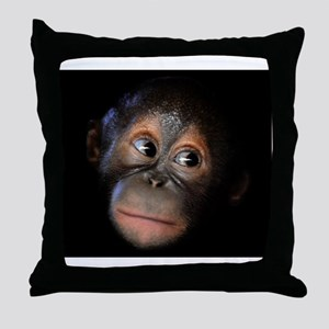 Baby Orangutan Face Throw Pillow